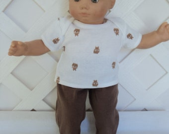 Bitty Baby Boy 2 pc. cute brown and white  pants set, doll clothes