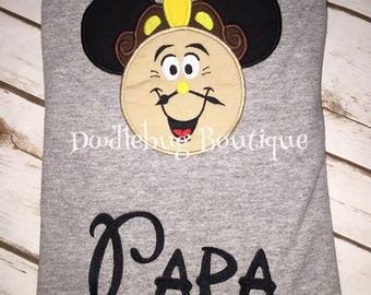 Beauty and the Beast Cogsworth Clock Mickey shirt with name