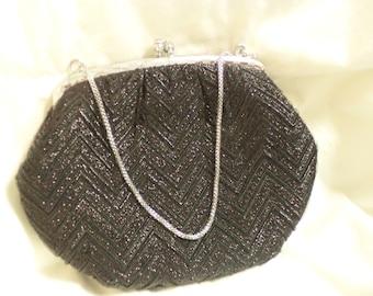 vintage 50s bag, 50s purse, black 50s bag, black 50s purse, black lurex bag, vintage handbag, black evening bag