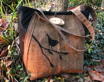 Tote Waxed Canvas, Nature, Business, Appliqued, Vegan, Birds, Herringbone, Ready to Ship, Large interior Zipper pocket, 3 Large Open Pockets