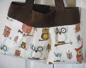 Pleated Bag, Owl Shoulder Bag, Corduroy and Cotton Womens CarryAll/Tote