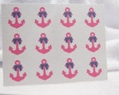 Anchor Stickers Pink Anchor with blue bow stickers One Inch Round Ses321