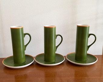 Vintage Legardo Tackett 3 Espresso Cups Schmid Porcelain Modern Green
