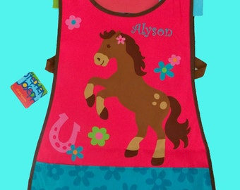Personalized Stephen Joseph Art Smock-Craft Apron GIRL HORSE Themed-Monogramming Included