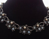 """20% off sale CORO signed Vintage silver tone 16.5"""" necklace with pearls and shiny blue rhinestones in great condition"""