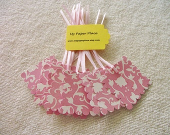 Elegant Pink Flowers Gift Tags -   2 In.  Scalloped Square-Prestrung