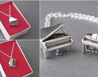 Sterling Silver Upright Piano Charm Necklace, Spinet Piano Necklace, Console Piano Necklace, Grand Piano Charm Necklace, With Gift Box