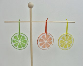 Fruit slice ornaments set of 3