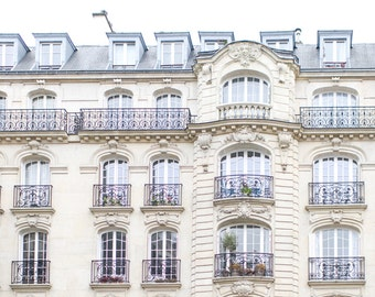 Paris Photograph - Windows on Rue Condorcet, Paris Wall Art, Large Wall Art, Neutral French Home Decor, Fine Art Photo