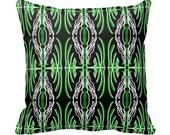 Modern Green Black and White Graphic Designer Throw Pillow w/ Insert