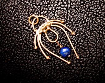 Lapis Lazuli jewelry, Brass pendant, Ancient Inspired Pendant, , greek jewelry, roman jewelry, medieval