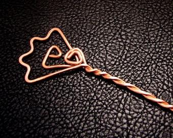 Hair stick, Hair pin, hair pick, hair accessories, copper pin, copper wire, rustic hair pin, floral hair pin