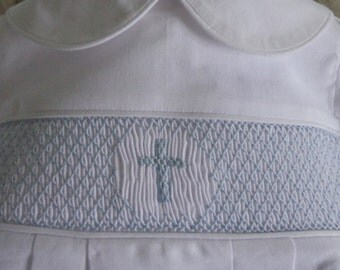 Hand smocked Baby Boy Baptism outfit with center cross made to order in sizes 3 month to 24 month.