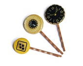 Steampunk Bobby Pin Trio Vintage Buttons Glass Clock Face Cabochon Swarovski Crystals Antique Brass Gear Settings Yellow Black OOAK