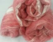 Suri & Silk Batt, Hand Painted Alpaca Batt, Hand Carded Batts, Luxury Spinning Fiber, 3.4 oz