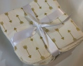 Sweet Bobbins Kitchen Size Towels - set of 3  - cream and Gold Arrows fabric