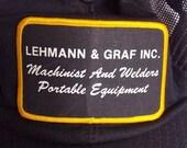 SALE machinist black trucker cap mesh grunge patch 80s 90s blue collar normcore baseball cap