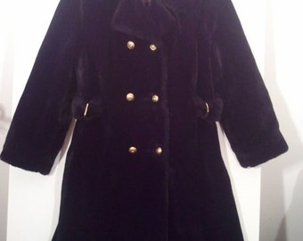 SALE Black faux fur fake fur swing coat mod modern 60s fur trim collar double breasted 36 Gimbels winter coat grunge