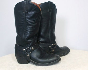 Vintage Boots HH Black Harness Double H Cowboy Boots 1980's Motorcycle Boots Size 7B