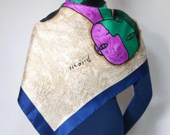 Vintage Picasso Scarf Vibrant Color Scarf