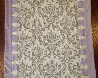 Baby blanket quilt gray damask lavender  lilac minky dot