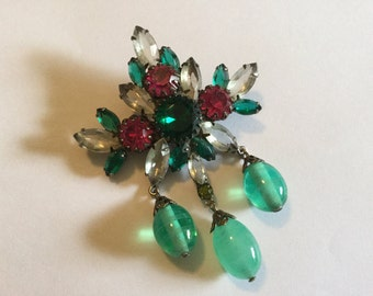 Gorgeous Glass Brooch Vintage Pin with Gripox ? Drop Dangles