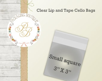 "100 Clear resealable bags - little square bags which are 3"" x 3"" three inch envelope"