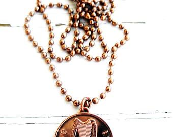 1976 IRISH 1 PENNY Coin Necklace-Ireland Necklace