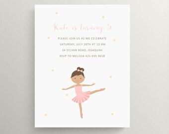 ballerina dancer birthday invitation set  //  baby shower invitation  // note card // ballet  //  dance party  //  tutu // dancer