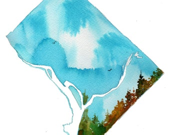 District of Columbia, print from original watercolor painting by Jessica Durrant from Painting the 50 States Project