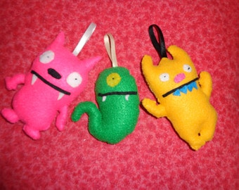 3 different Ugly Doll Christmas Tree Ornaments