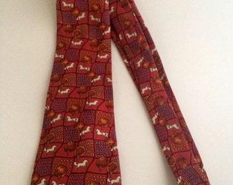 Vintage Salvatore Ferragamo 100% Silk Italy Horse Red Orange trees Fields Gorgeous Necktie Tie Men's Suit Hard to Find Flawless