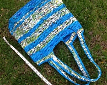 Plarn Tote - blue and green stripes