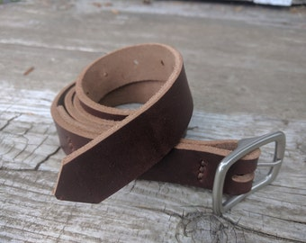 "Horween Chromexcel Belt with Solid Brass Matte Nickel Finished Buckle - 1"" Wide"