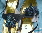 60's GLAM ShowGirl Blue sparkle Sandals by Vic and Vic Size 9 Medium by JeansVintageCloset