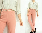 Vintage 90's Dusty Pink High Waisted Pants Skinny Trousers / Dusty Rose Dress Pants / Cigarrette Leg