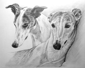 Custom Pet Portrait Graphite Pencil 2 pets 11x14 hand drawn