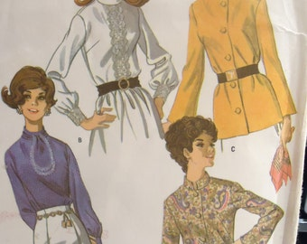 Vintage 1960s Blouse McCalls Sewing Pattern size 14 bust 36