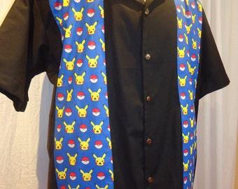Pikachu Pokemon shirt Custom small to 3XL  Panel/blowing shirt style
