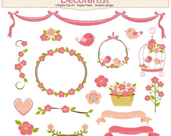 ON SALE pink floral clipart,. Flowers clipart, wedding clipart, flowers frames, sweet garden, pink, birds clipart, floral clipart