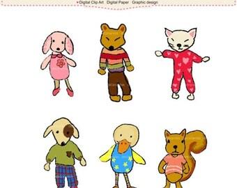 ON SALE doodle drawing clipart clipart - animals clipart, stuff toys clipart, invites,dog clipart, rabbit clipart, pencils draw clipar