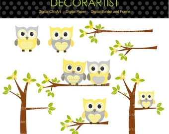ON SALE Digital clipart owls, Owls and the branch, owls tree clipart, yellow and grey, INSTANT Download