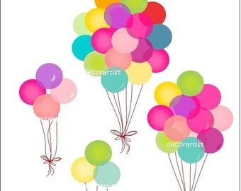 ON SALE balloons clipart , digital clip art , party balloons clip art,Balloons 2 , INSTANT Download