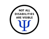 Not All Disabilities Are Visible Black Rim Service Dog Black Rim Hook VELCRO Patch (Choose Size)