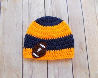 Baby Football Hat, Football Beanie, Blue and Orange Team Hat
