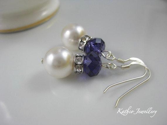 Emma - Purple Velvet  Bridal Earrings. Swarovski Purple Crystal and Pearl Earrings.  Bridesmaids Purple Drops