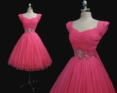 Vintage 1950s Hot Pink Chiffon Beaded Pinup Full Skirt Cocktail Party Dress M
