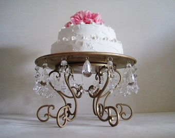 "Hollywood Regency Golden Scroll and Clear 14"" Cake Stand MADE TO ORDER"