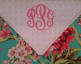 Personalized Monogrammed Baby Blanket Security Colorful Floral Lovey Aqua Pink Coral Minky Baby Girl Amy Butler 17x17