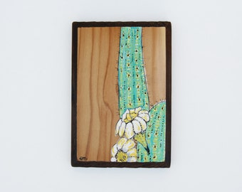 Saguaro Blooms / original painting on wood